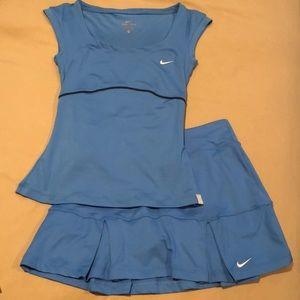 Blue Nike Tennis Top & Skirt Set